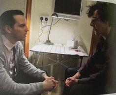 Andrew Scott and Benedict Cumberbatch rehearsing for 'Sherlock'.