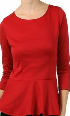 Womens 3/4 Sleeve Solid Peplum Top. S-L - Apostolic Clothing
