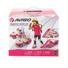 Get outside and have fun with the Avigo Beginner Skate Set! This cool skate set includes skates, a helmet, knee pads, elbow pads, and wrist guards. Your little one is going to love skating around the neighborhood, park and rinks! The pretty pink, purple and lime green splatter design also adds for a super cute touch. Great for ages 3 and up!<br><ul><li></li><br><li>Elbow pads - with VELCRO® brand closure® adjustable straps</li><br><li>Helmet with soft breathable lining</li><br...