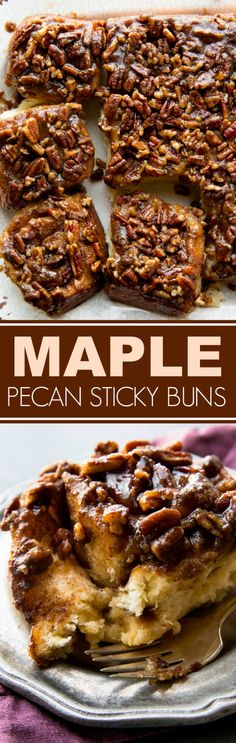 Unbelievably soft, rich, and decadent maple pecan sticky buns with extra brown s. - Unbelievably soft, rich, and decadent maple pecan sticky buns with extra brown sugar caramel toppin - Köstliche Desserts, Delicious Desserts, Dessert Recipes, Yummy Food, Brunch Recipes, Scones, Pecan Sticky Buns, Sticky Rolls, Maple Syrup Recipes