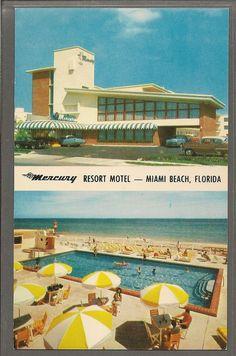 Mercury Luxury Resort Motel Miami Beach Florida Vintage Postcard