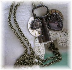 Soft Steampunk from Beanzie, of The Vintage Heart.   Love the old Skeleton key!