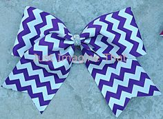 3 Width Cheer Bow 7x6.5 Texas Size Cheer Purple and White Glittered Chevron by JustImagineThatBows