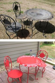 We can't believe this amazing patio furniture upcycle DIY for $25! check out the before and after patio table and chairs makeover DIY for backyard or porch. Patio Furniture Makeover, Metal Patio Furniture, Outdoor Furniture Sets, Refurbished Furniture, Diy Furniture, Diy Planter Box, Diy Planters, Fire Table, Patio Table