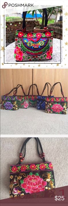 Embroidered Shoulder Mini Bag (GY23S8B) New without tag. Canvas embroidery Handmade bag. Top zip closure. Offers welcome. No trade Bags Shoulder Bags