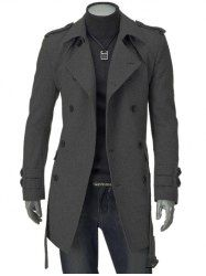 Turn-Down Collar Epaulet Design Double Breasted Long Sleeve Woolen coat For Men - GRAY L Mobile
