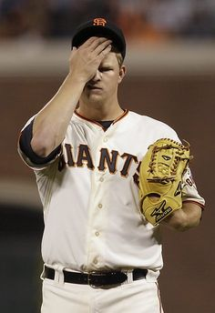 Game 22/162, 5/1/2012; Matt Cain wipes his face while he pitches against the Miami Marlins. The Marlins would go on to win the game 2-1.