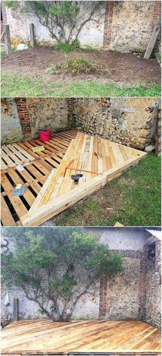 This idea of wood pallet garden terrace design can stand out a perfect option fo.:separator:This idea of wood pallet garden terrace design can stand out a perfect option fo.