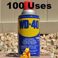 100 uses for WD-40 ~ always a couple cans around my house just for tar removal if nothing else! Honestly does some crazy good things besides stopping the car doors from squeaking!