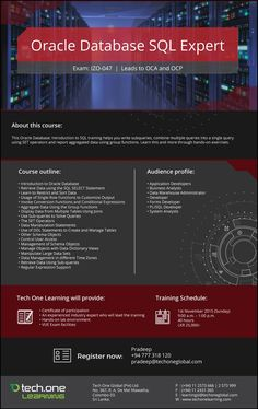 Tech One Learning - Oracle Database SQL Expert Oracle Apex, Oracle Dba, Jd Edwards, Oracle Certification, Oracle Database, Data Analytics, Data Science, Big Data, Linux
