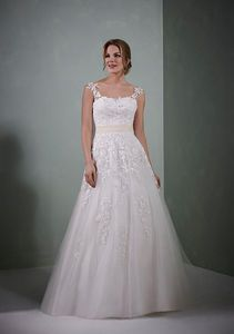 At Wedding Belles of Otley Honour ~ Ivory/peach or all ivory. Zip back. A whimsical lace and tulle bridal design with coloured sash and exquisite floral motif detailing. Wedding Dresses With Straps, Designer Wedding Dresses, One Shoulder Wedding Dress, Evening Dresses, Formal Dresses, Princess Style, Bridal Gowns, Gown Wedding, Ball Gowns