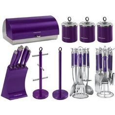 purple kitchen knife sets | Morphy Richards Kitchen Set Bread Bin 3pc Canisters 5pc Knife Set Cup ...
