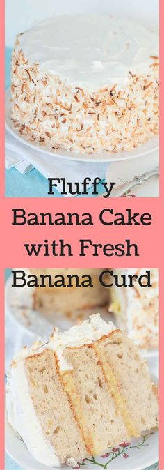 "This Banana Cake with Fresh Banana Curd Cake recipe is has fluffy banana cake layers with a homemade fresh banana curd filling and whipped cream frosting. Welcome to cake heaven! <a href=""http:∕∕www.mamagourmand.com"" rel=""nofollow"" target=""_blank"">www.mamagourmand.com<∕a>"