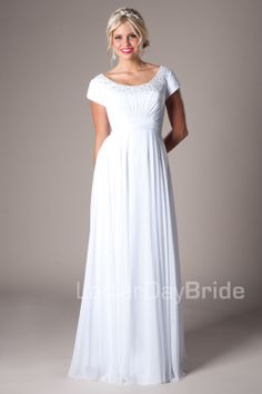 Modest Wedding Dresses :  Mormon LDS Temple Marriage - Alcott    #MormonTemples #LDSTemples #Temples