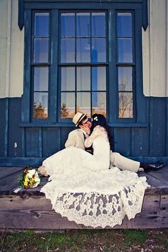 Lace wedding dress and adorable pose <3