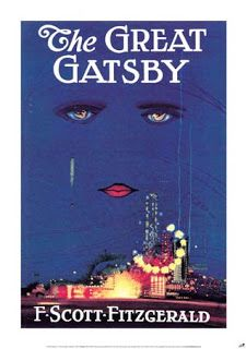 """By Francis Cugat.  """"The cover was completed before the novel, with Fitzgerald so enamored of it that he told his publisher he had """"written it into"""" the novel.  The image on the cover is produced in Art Deco-style gouache, with a pair of eyes hovering over the bright lights of an amusement park. The woman has no nose but full and voluptuous lips. Descending from the right eye is a green tear. The irises depict a pair of reclining nudes."""""""