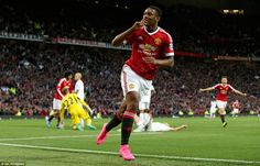 Anthony Martial salutes the Old Trafford faithful following his 86th minute strike, which capped off an exhilarating second half