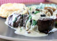 Filet with Mushroom Marsala Sauce on http://whitsamusebouche.com