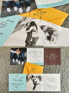 Para M&C realizamos esta romántica invitación con aire vintage y tonos pastel