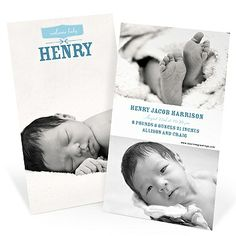 Family and friends are eager to see photos of your little boy, so show him off with these two-sided birth announcements!