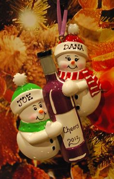Personalized Wine Bottle Couple Christmas Ornament - FREE Ornament Gift Bag. $11.50, via Etsy.