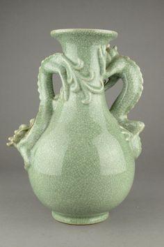 Lot:Chinese Ming Style Dragon Celadon Glazed Vase, Lot Number:457, Starting Bid:C$200, Auctioneer:888 Auctions, Auction:Chinese Ming Style Dragon Celadon Glazed Vase, Date:09:00 AM PT - Mar 13th, 2014