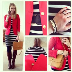 My first week of work looks. This striped dress/red blazer combo was my absolute favorite!