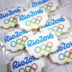 TBT - Throwback to last summer with these Olympic cookies. Bradford Ontario, Logo Cookies, Custom Cookies, Yummy Cookies, Cookie Decorating, Sweet, Desserts, Sports, Summer