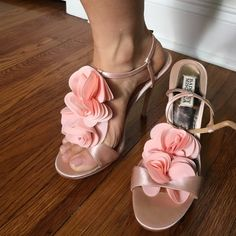 Gorgeous Badgley Mischka pink platform heel size 9 Gorgeous Badgley Mischka light satin pink platform heel size 9- fun flirty flower detail. GUC see pics of small scuffing outside right shoe (have not tried to clean) - perfect party or prom shoe! Badgley Mischka Shoes Heels