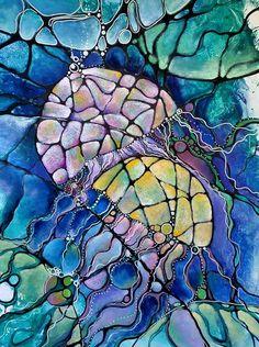 """#Нейрографика #АртМетод_Нейрографика  """"Вторая океаническая картинка - в комплект ракушке два медузьих купола запланированы заранее и слиты с выбросом""""  Автор работы: Daria Belman  Наше группа """"Атр-Метод. Нейрографика"""" фб: https://www.facebook.com/groups/archilider/"""