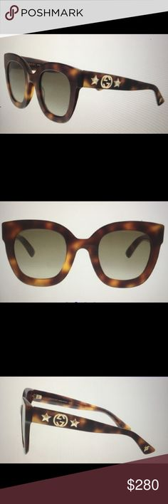GUCCI tortoise shell frames with diamond and star GUCCI sunglasses tortoise shell frames with diamond and star accents on arms. Super cute. Comes with duster bag, eyeglass case and cleaning cloth. 49 28 140 Gucci Accessories Sunglasses