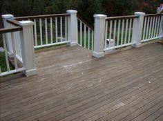 love the idea of painting top railing slightly darker color than deck paint