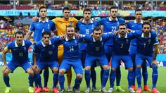 Greece pose for a team photo prior to the 2014 FIFA World Cup Brazil Round of 16 match between Costa Rica and Greece