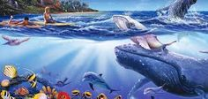 A boy and girl on surfboards paddle out to greet a pod of whales in this wall mural. Under the water, tropical fish, dolphins and other sea creatures swim around colorful coral. Sea Life Art, Murals Your Way, Ocean Art, Life Drawing, Tropical Fish, Beach Themes, Sea Creatures, Wall Murals, Surfboard