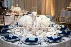 White and Navy Dining Table                              …