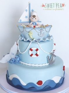 Nautical Baby Shower Cake by Sweet Pea Tailored Confections
