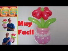 como hacer flores con globos largos - globoflexia fácil flores - como hacer un florero con globos - YouTube