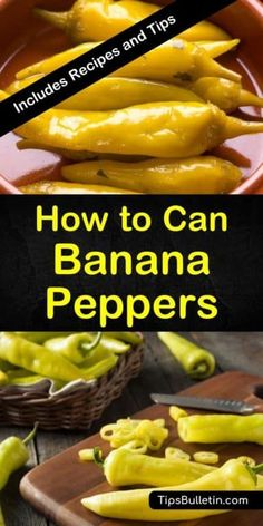 Canning Banana Peppers - How to Can Banana Peppers - Recipes and Tips Canning Banana Peppers - Wie kann man Banana Peppers - Rezepte und Tipps Canned Banana Peppers Recipe, Hot Banana Peppers, Stuffed Banana Peppers, Banana Pepper Recipes, Hot Pepper Recipes, Banana Pepper Sauce Recipe, Recipes With Peppers, Home Canning Recipes, Canning Tips