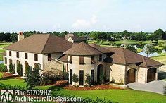Aerial view of 3 Bed Tuscan House Plan 51709HZ  Ready when you are. Where do YOU want to build? #homes #luxuryhome