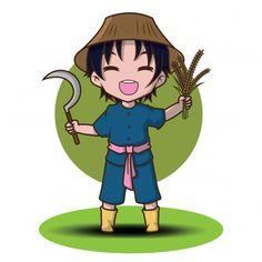Cute cartoon young farmer holding rake. | Premium Vector #Freepik #vector #man #character #cartoon #farm Cute Cartoon Boy, Cartoon Faces, Cartoon Kids, Cartoon Art, Chibi Characters, Cute Characters, Young Farmers, Thai Art, Man Character