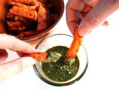 VeganMisjonen: Søtpotetfries med basilikumdip