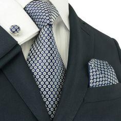 Blue and White Necktie Set JPM1891C - Toramon Necktie Company