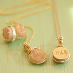 Bright and Colorful Druzy Pendant Necklaces wrapped by BareandMe