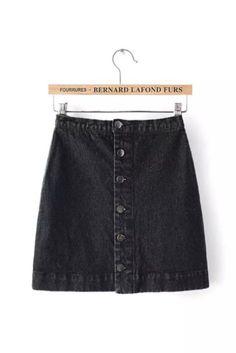 Black Washed Demin Mini Skirt