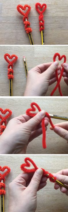 Pipe Cleaner Pencil Topper | DIY Valentines Art for Kids to Make | Easy Valentines Art for Preschoolers