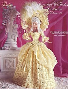1790 English Aristocrat Vol 28, Paradise Publication Crochet Fashion Doll Clothes Pattern Booklet P-039