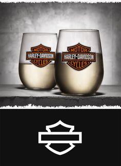Modern design meets traditional Harley style. | Harley-Davidson Stemless Wine Glasses