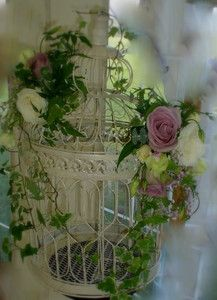 LRG CREAM VINTAGE VICTORIAN DECORATIVE BIRDCAGE SHABBY CHIC BIRD CAGE PLANTER