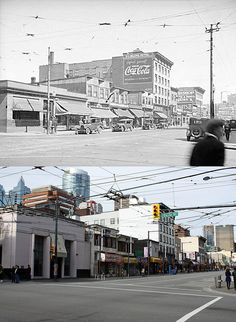 Surprisingly, just about everything remains from the old photo, except of course, for the former bank building on the corner closest to the camera. This is looking north down Granville. Vancouver Bc Canada, Vancouver City, West Coast Canada, Seymour, Banks Building, Visit Canada, Most Beautiful Cities, Local History, Back In The Day