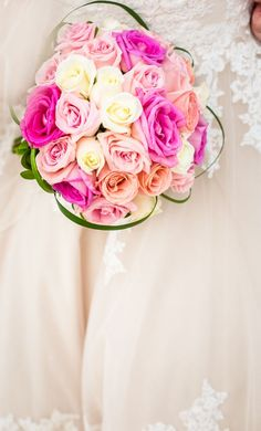 Hot Pink Rose Bouquet with Blush Touches Wedding Set Up, Wedding Story, Floral Wedding, Hot Pink Weddings, Simple Weddings, Beach Wedding Bouquets, Pink Rose Bouquet, Hot Pink Roses, Beach Wedding Inspiration